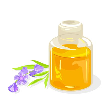 Sprig of violet lavender is near transparent jar closed by glass cork with floral essential oil. Ingredient for aromatherapy, skin applications, massage therapy, in perfumery. Vector isolated on white Illustration