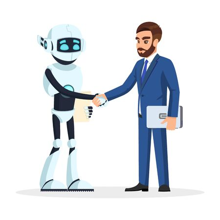 Humanoid robot and bearded businessman in formal suit shaking hands. Artificial intelligence interviewed successfully and hired. Modern technology in office. Vector cartoon isolated on white.
