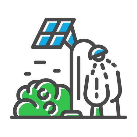 Thin line icon related with solar panels, cells using isolated on white background. Clean modern smart city outline pictogram, logotype. Street lights charging vector element for infographic, web.