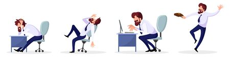 Big set of employee, businessman with various emotions, mood, feelings at work depression, stress, laziness, job burnout, enthusiasm, joy, success. Vector cartoon isolated on white background.