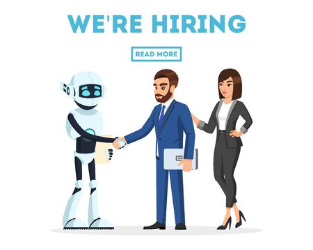 Bearded businessman and businesswoman meet a new colleague, anthropomorphous machine, artificial intelligence joyfully, shaking hands. Welcome to team. We re hiring. Vector template for web design. Stock Illustratie