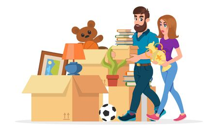 Young family collecting things to move to other housing, flat. Man and woman carrying books and vase near pile of cardboard boxes, picture, plant, ball, teddy bear, table lamp. Vector cartoon on white