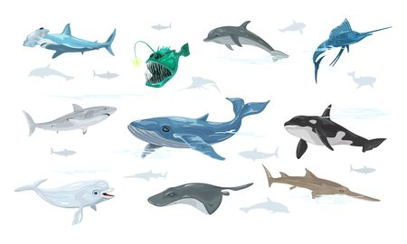 Vector set isolated on white of undersea world with swimming marine animals, creatures, monsters, fishes dolphin, anglerfish, swordfish, whale, shark, sawfish, beluga, atlantic torpedo hammerhead.
