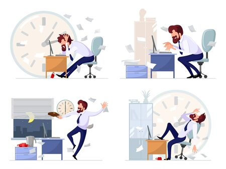Big vector set with highlights of working life of bearded manager, office worker, businessman deadline, stress, laziness, conflict, crisis, inspiration, success, victory, achieving goals.