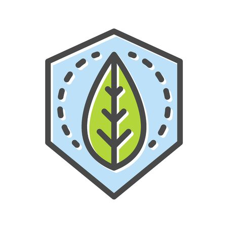 Plant green leaf in blue hexagon thin line icon isolated on white. Save world, peace pictogram. Ecology, environmental protection logotype. Landscaping of cities vector element for infographic, web.