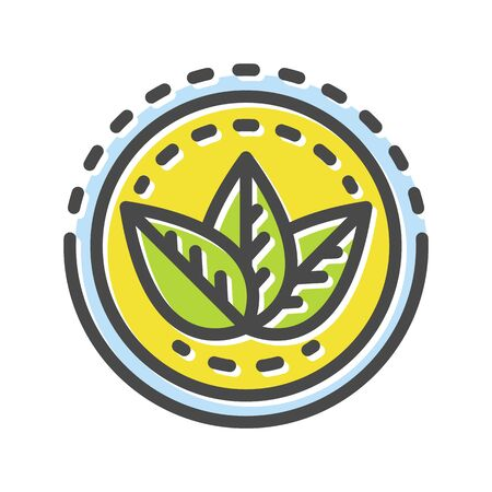 Green leaves on yellow round background thin line icon  isolated on white. Botany, gardening, greening outline pictogram. Dietary supplement, nature protection vector element for infographic, web Illustration
