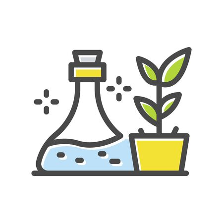 Medical glass with liquid near plant pot thin line icon  isolated on white background. Antiviral therapy outline pictogram. Vaccine, cure, treatment vector element for infographic, web. Illustration