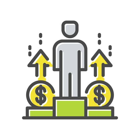 Businessman, ceo, entrepreneur stands on winner podium with money thin line icon,   isolated on white. Financial, career growth outline pictogram. Motivation vector element for infographic, web.