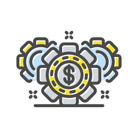 Earning process, mining, inflation with gear wheels thin line icon isolated on white. Credit, loan, tax, cash back pictogram. Pawn shop logotype. Currency market vector element for infographic, web.
