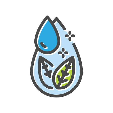 Leaves and blue drops thin line icon  isolated on white background. Water pollution, desertification prevention outline pictogram. World ocean, ecology vector element for infographic, web.