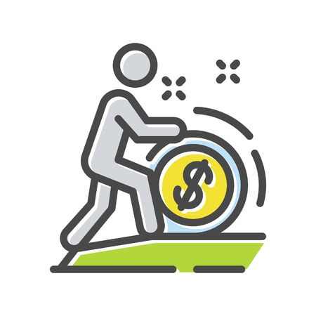 Investor, sponsor, banker moving coin forward thin line icon isolated on white. Financial management, cash back pictogram. Currency, money logotype. Forex exchange vector element for infographic, web.