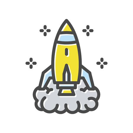 Rocket takes off thin line icon  isolated on white background. Startup, investment, business challenge, growth outline pictogram. Long-term strategy vector element for infographic, web. Illustration