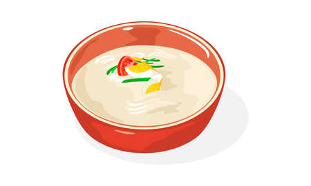 Red bowl of Kongguksu. Seasonal Korean noodle dish served in cold soy milk broth. Refreshing korean soup with egg, greenery and tomato, cucumber strips for hot summer days. Vector isolated on white. Illustration