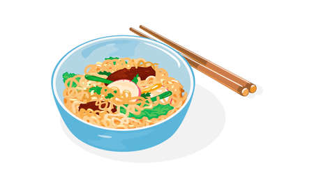 Light blue bowl of Jajangmyeon with chunjang and chopsticks. Korean-style Chinese noodle dish topped with thick sauce made of tianmian sauce, diced pork and vegetables. Vector isolated on white.