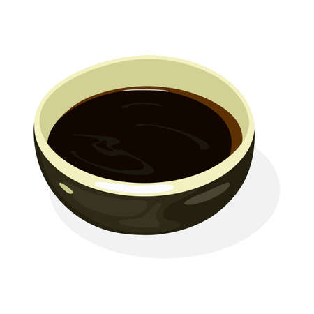 Soy sauce is in black boil. Liquid condiment of Chinese origin, traditionally made from fermented paste of soybeans, roasted grain, brine, added for flavor in cooking. Vector isolated on white.