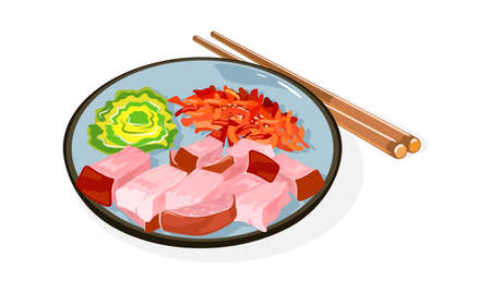 Korean cuisine dish Bossam on plate and chopsticks. Boiled in spices, thinly sliced pork served with inner leaves of napa cabbage, saeu-jeot salted shrimps . Vector illustration isolated on white.