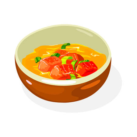 Spicy yellow sauce with chopped tomatoes, scallions, greenery is in brown bowl. Traditional korean cuisine dish. Vector illustration isolated on white for menu, recipe, cookbook, advertising. 向量圖像