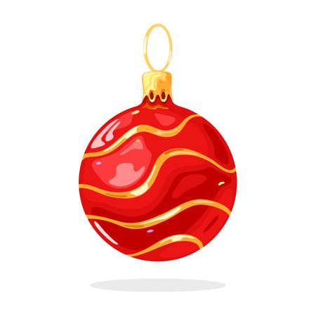Christmas tree ornament, decoration glossy red ball, bauble with gold wavy lines. Vector cartoon illustration isolated on white background for seasonal, New year, xmas sale banners, postcards. Illustration