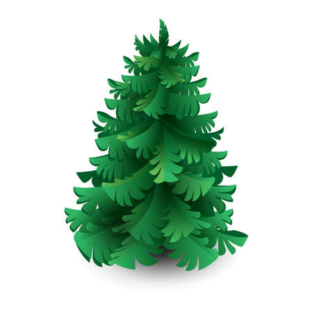 Green spruce, pine or fir. Christmas tree. Paper cut, art illustration isolated on white background for New year, ecology, landscaping of cities, municipal forestry urban greening projects.