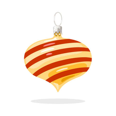 Festive glossy yellow decoration with red diagonal stripes and sharp corner beneath. Christmas tree ball, bauble. Vector cartoon illustration isolated on white background. New year design element.