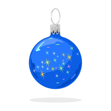 Christmas tree blue glitter ball with multicolor sparkles. Iridescent festive decoration, bauble. New year, xmas element design for greeting, invitation cards, postcards, banners, flyers. Illustration
