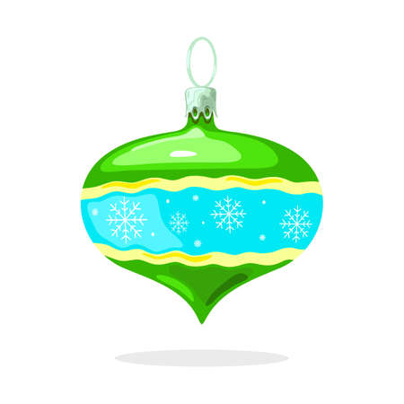 Green shiny decoration with yellow wavy stripes, white snowflakes on light blue background in middle and sharp corner beneath. Christmas tree ball, bauble. Vector cartoon isolated illustration.