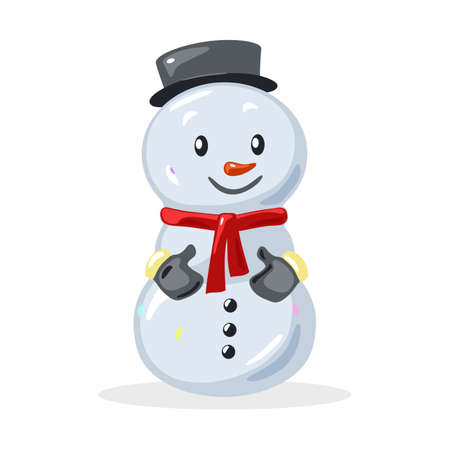 Cute snowman with black hat, buttons, red scarf and blue mittens, Children toy. Christmas decoration for spruce, pine. Vector cartoon illustration isolated on white background.
