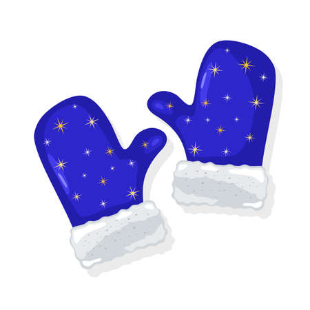 Pair of blue mittens with white fur and yellow stars or snowflakes ornament. Winter clothes. Christmas decoration for spruce, pine. Vector cartoon isolated illustration for seasonal, New year sale.