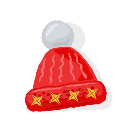 Red knitted. skully winter hat with white pompom or bobble and yellow four pointed stars. Winter clothes. Christmas decoration for spruce, pine. Vector cartoon isolated illustration for seasonal sale. Illustration