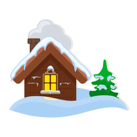 Small wooden cottage with yellow window, pipe and green pine are in snowdrift. Cute brown toy house and spruce covered with snow. Christmas decoration for home. Vector cartoon isolated on white.