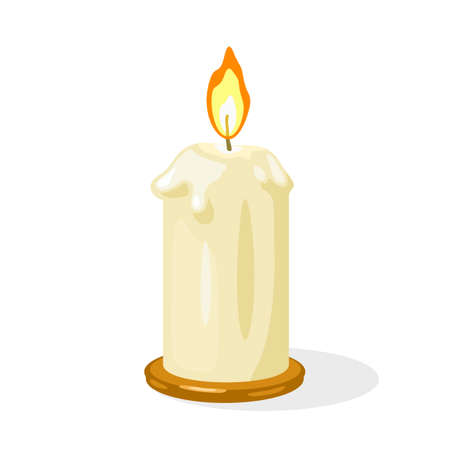 Glowing burning candle with melted wax is on metallic round candlestick. Memorial fire, prayer in church. Light flame. Christmas decoration. Vector cartoon illustration isolated on white.