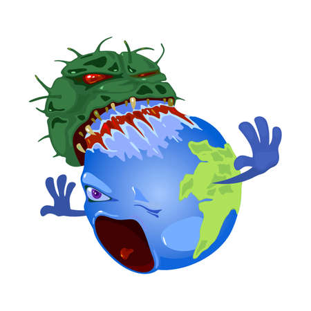 Angry microbe rips out planet earth, dangerous virus attack world. Vector suffering land in pain from infection and pandemic flu. Pathogen microbe isolated on white background