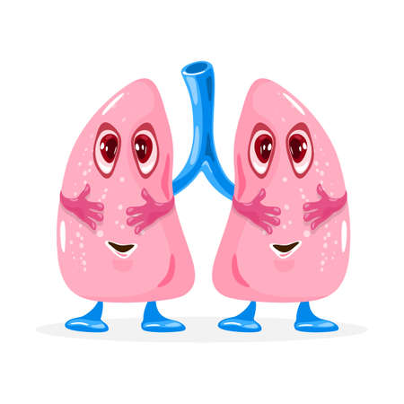 Happy cute lungs smiling. Vector organ with eyes, legs and hands. Body and health system. Lungs therapy, respiratory and pulmonology idea. Isolated on white background