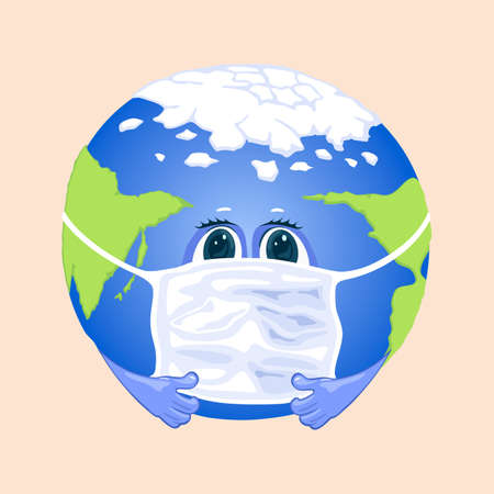 Planet earth in protective face mask covering mouth. Vector virus around world, infection and illness. Fast handover of coronavirus flu idea isolated on beige background