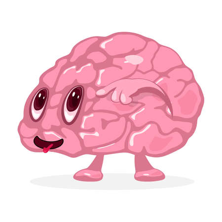 Cute brain with hand, eyes and mouth. Vector human organ emotion with funny faces. Anatomy and intellect idea. Isolated on white background for medicine design
