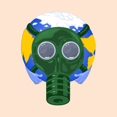 Earth in protective mask from environmental pollution, industrial smog and fine dust. Vector global air pollution problem and disaster design isolated on beige background