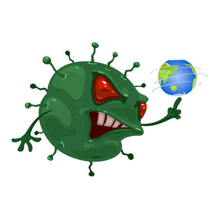 Germ with angry eyes, mouth and teeth spins earth planet on hand. Vector virus spread on earth, infection and illness handover. Coronavirus flu idea isolated on white background