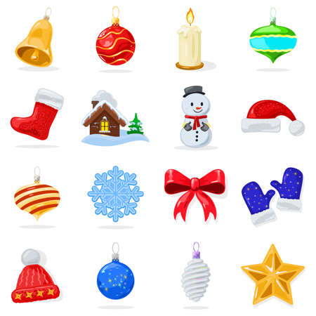 Big set with Christmas decorations glossy balls, baubles, star, candle, garland, red ribbon, mittens, boot, hat, snowflakes, toy house, snowman bell Vector cartoon collection isolated on white