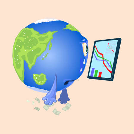 Crying and upset globe with eyes and hands looking at graphic diagram on screen. Vector economic and financial crisis, collapse. Falling economy isolated on beige background