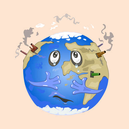 Sad earth planet with factories producing smog, dust and dirty air. Vector bad impact on ecology and nature, global worldwide problem design isolated on beige background Çizim