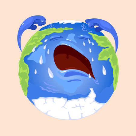 Planet character with eyes, mouth and hands with upset face emotion. Vector planet weeping and getting cold, glaciers melting. Global disaster design isolated on beige background