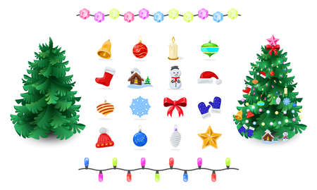 Educational game for children. Decorate spruce, pine with Christmas ornaments as in picture balls, baubles, star, candle, garland, bow, mittens, boot, hat, snowflake toy house snowman bell Vector