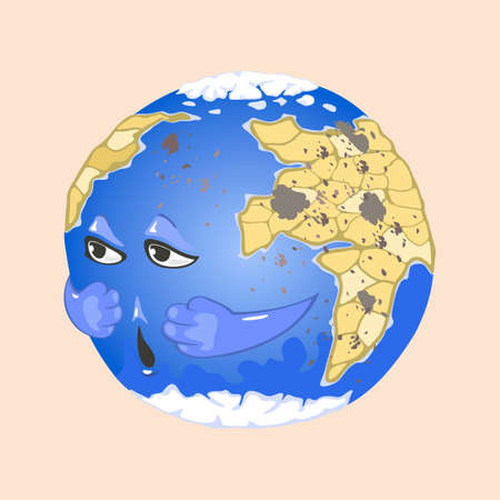 World with eyes and mouth suffer from bad air quality, smog and factories contamination. Vector ecology and environment disaster, no fresh air. Save planet idea isolated on beige background