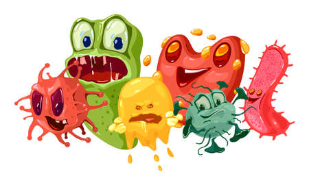 Microbes, germs and viruses with funny faces. Vector pathogen microbes, bacteries, coronavirus flu or influenza, with eyes, teeth and tongues. Smiling bacterium monsters isolated on white background