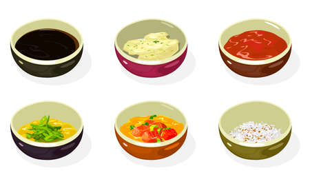 Big set of asian sauces, pastes, condiments, seasonings in bowls soy, cheese, honey mustard, spicy kimchi, crushed roasted sesame seeds and peanuts. Korean cuisine. Vector isolated on white.