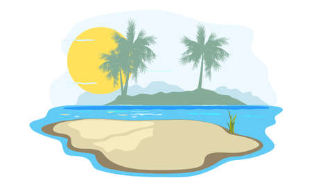 Peaceful and relaxing ocean view, sun over sea, yellow sand and oasis landscape. Vector summer vacation, hot climate, sunbathing on beach design isolated on white background Illusztráció