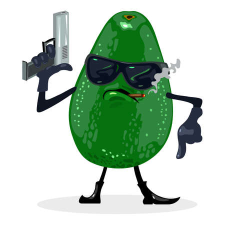 Cool avocado in glasses with gun smoking cigarette, fruit with eyes, hands, legs and mouth. Vector vitaminized food, dietary and nutritious design isolated on white background  イラスト・ベクター素材