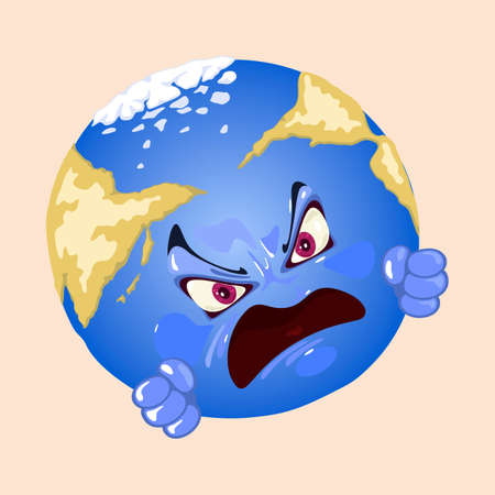 Mad planet with eyes, mouth, eyebrows and fist. Vector earth tired from cataclysm, climate change, infection and ecological problems. World disaster idea isolated on beige background Çizim
