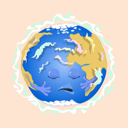Sad planet earth with eyes, mouth and hands suffer from magnetic field distribution. Vector physics science education and gravitation idea isolated on beige background