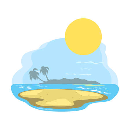 Peaceful and relaxing ocean view, sun over sea, yellow sand and oasis landscape. Vector summer vacation, hot climate, sunbathing on beach design isolated on white background